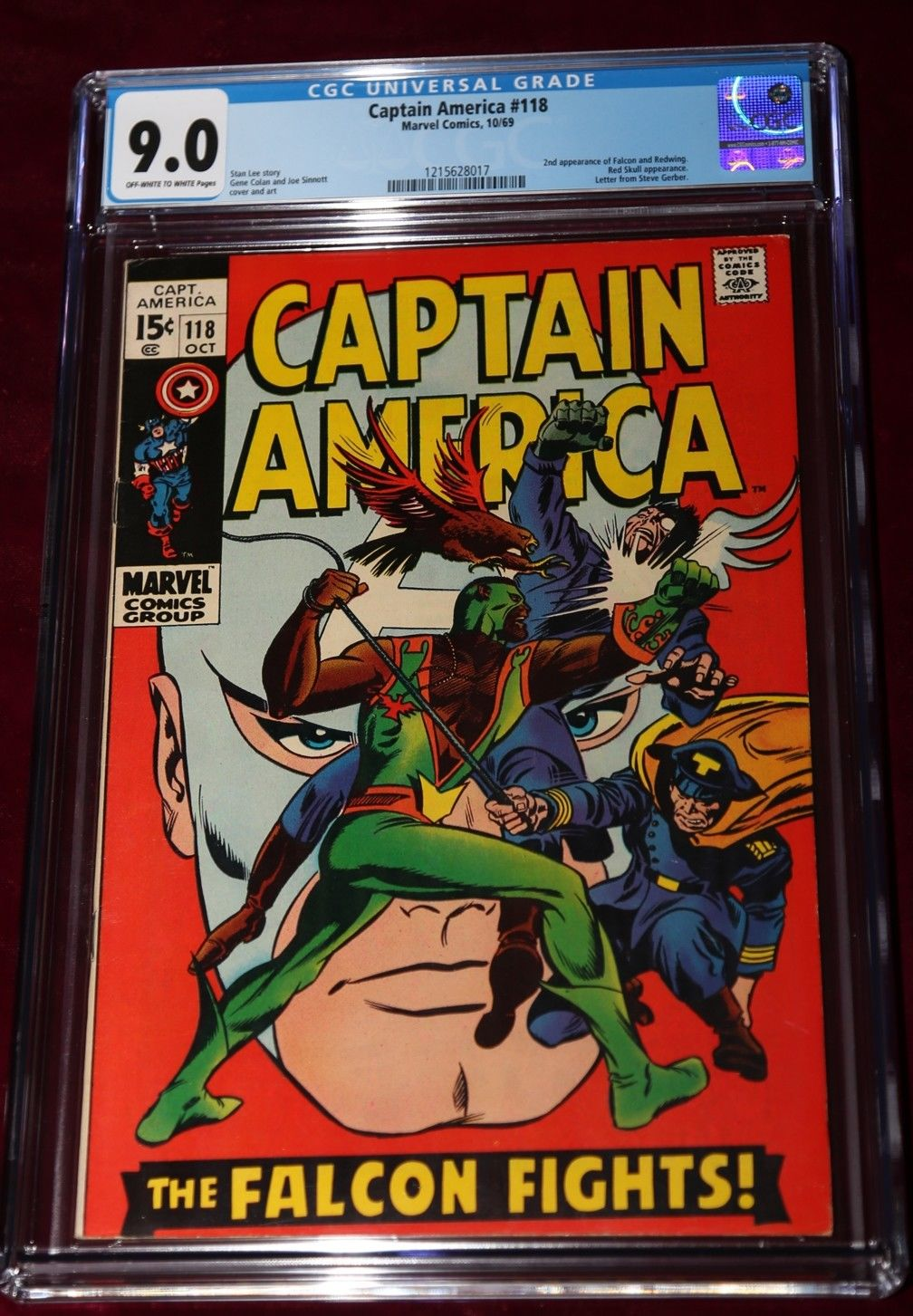 SCARCE CAPTAIN AMERICA #118 1969 9.0 CGC FALCON RED SKULL REDWING STAN LEE STORY