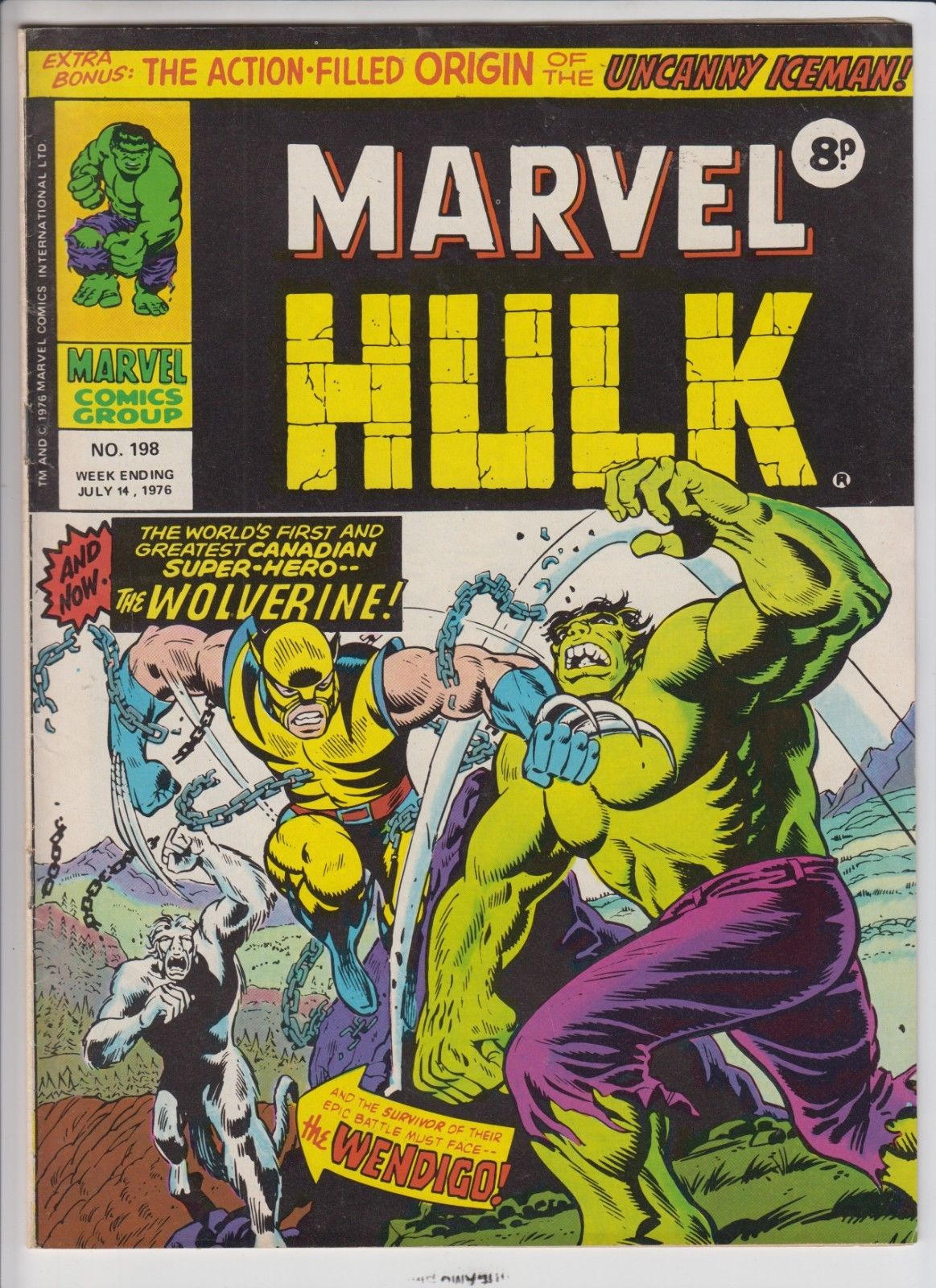MIGHTY WORLD OF MARVEL # 197,198,199,200  VF 1ST WOLVERINE / HULK # 181 JUL 1976