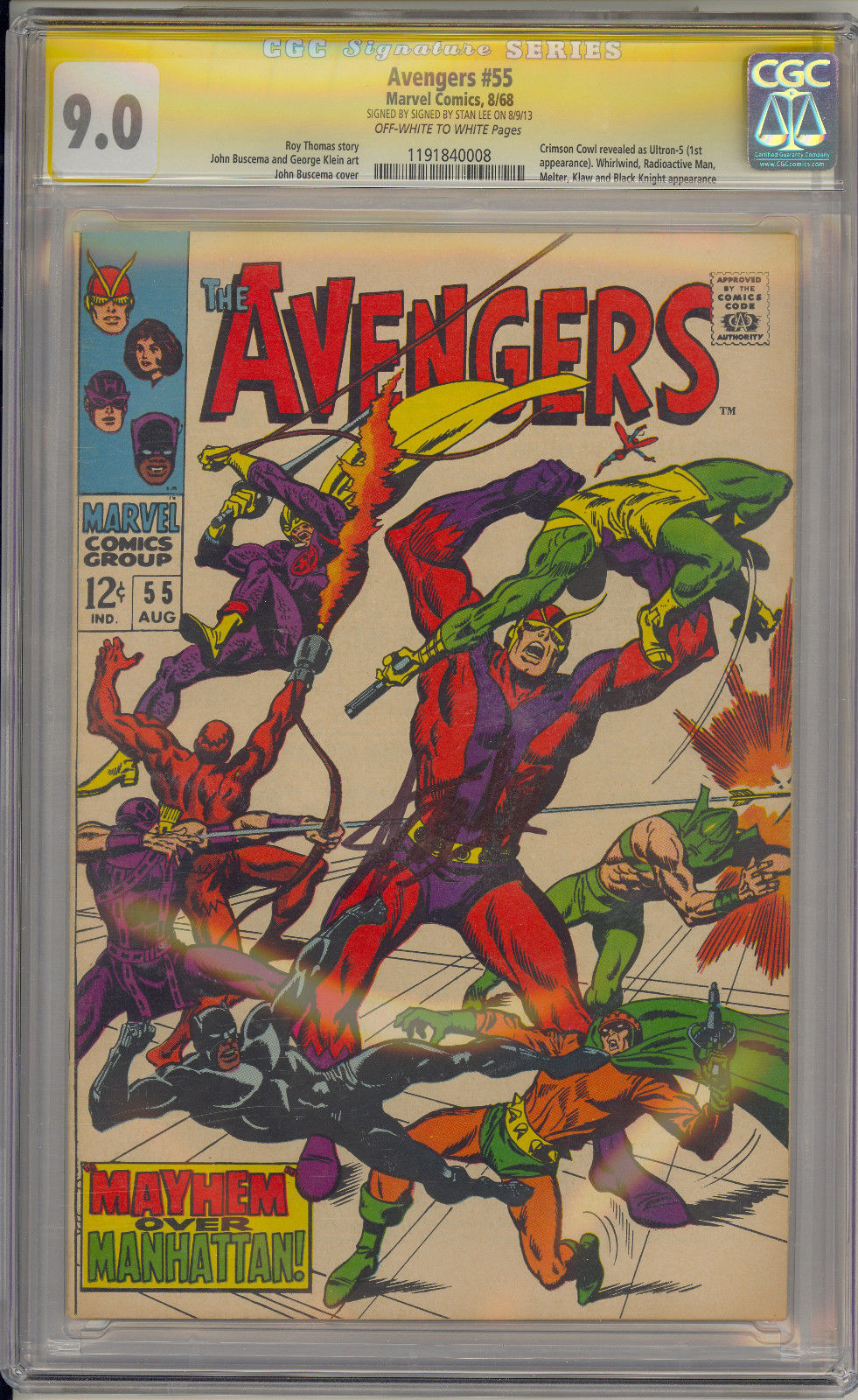 AVENGERS #55 CGC 9.0 OW/W 1ST ULTRON STAN LEE SS (SIGNED) MARVEL COMICS 1968