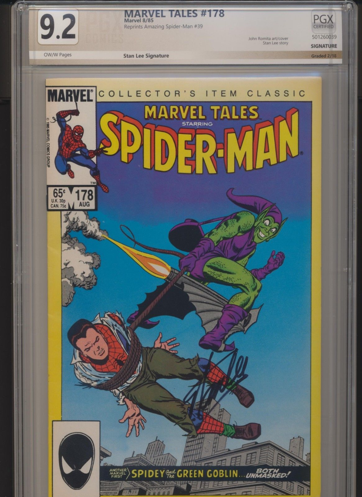 Marvel Tales 178 9.2 PGX (Like CGC) Signed by Stan Lee Spider-Man Classic