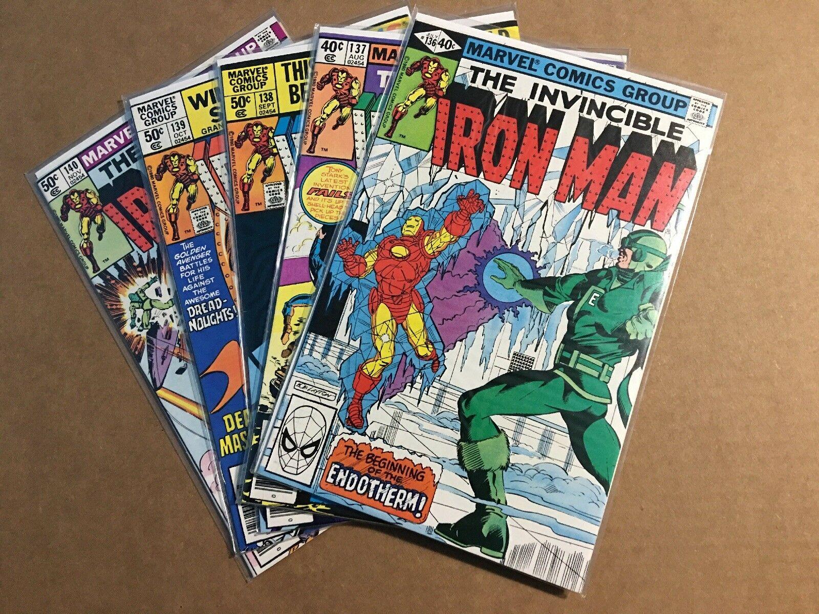 Iron Man #136 137 138 139 140  Run Lot Bronze Age Marvel Comics