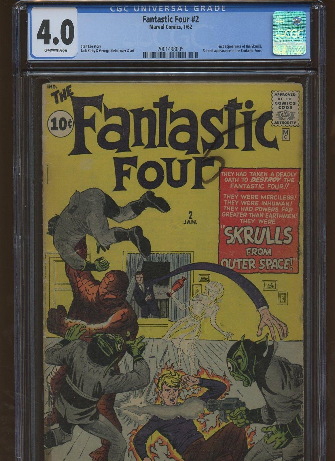 Fantastic Four 2 CGC 4.0 | Marvel 1962 | 1st Skrulls. 2nd Fantastic Four.