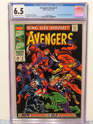 AVENGERS ANNUAL #2 NEW AVENGERS VS OLD AVENGERS 9/68 OFF-WHITE TO WHITE CGC 6.5