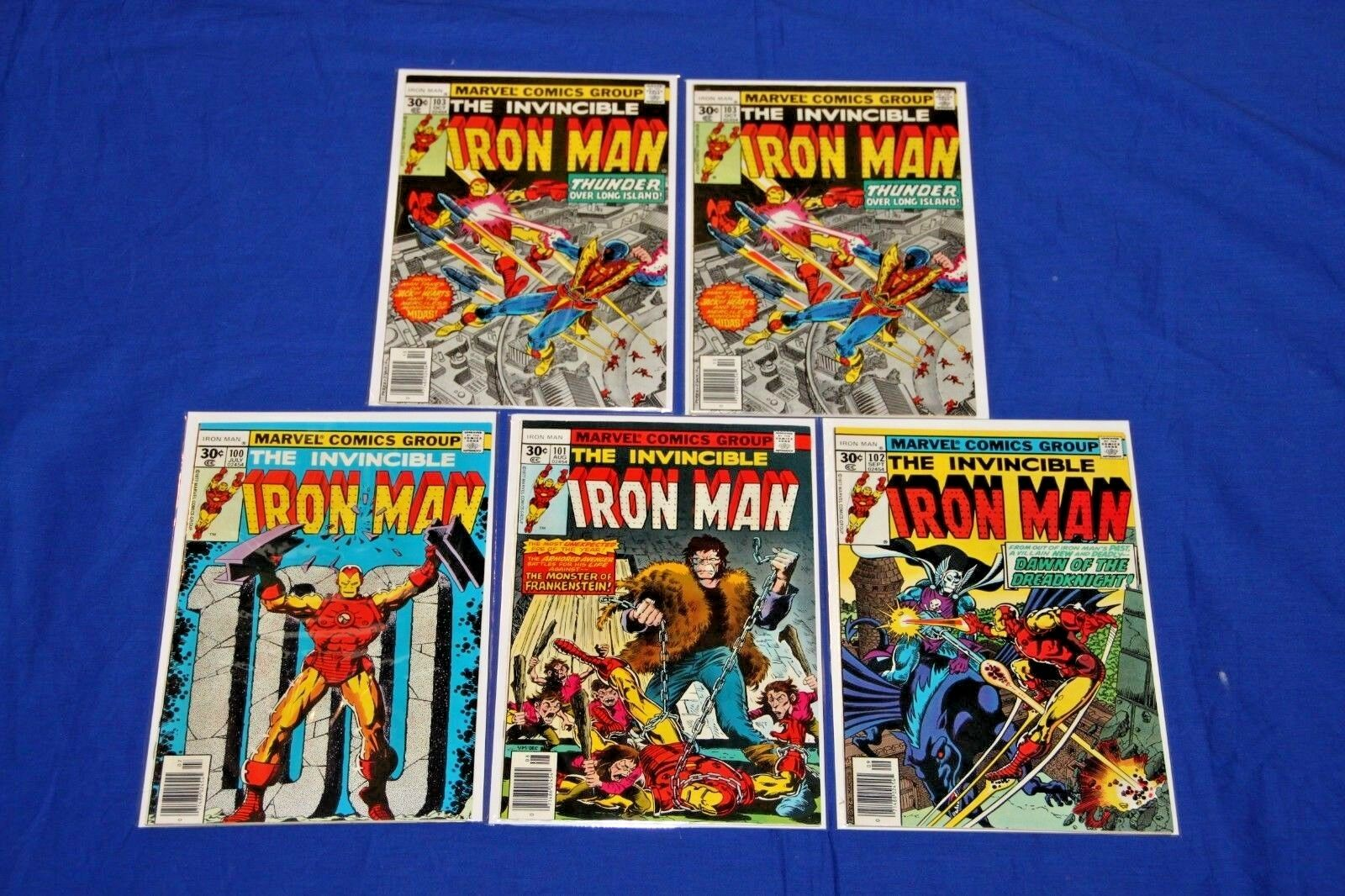 Iron Man Lot of 5 Comics #100,101,102,103,103 Complete Run High Grade Key NM