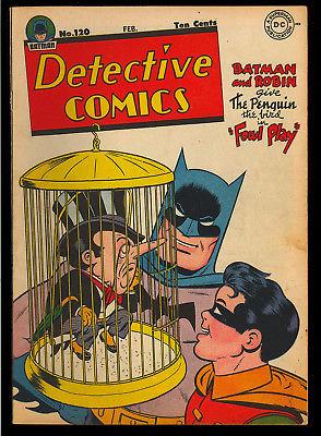 Detective Comics #120 Very Nice Penguin Original Owner Batman DC 1947 FN-VF
