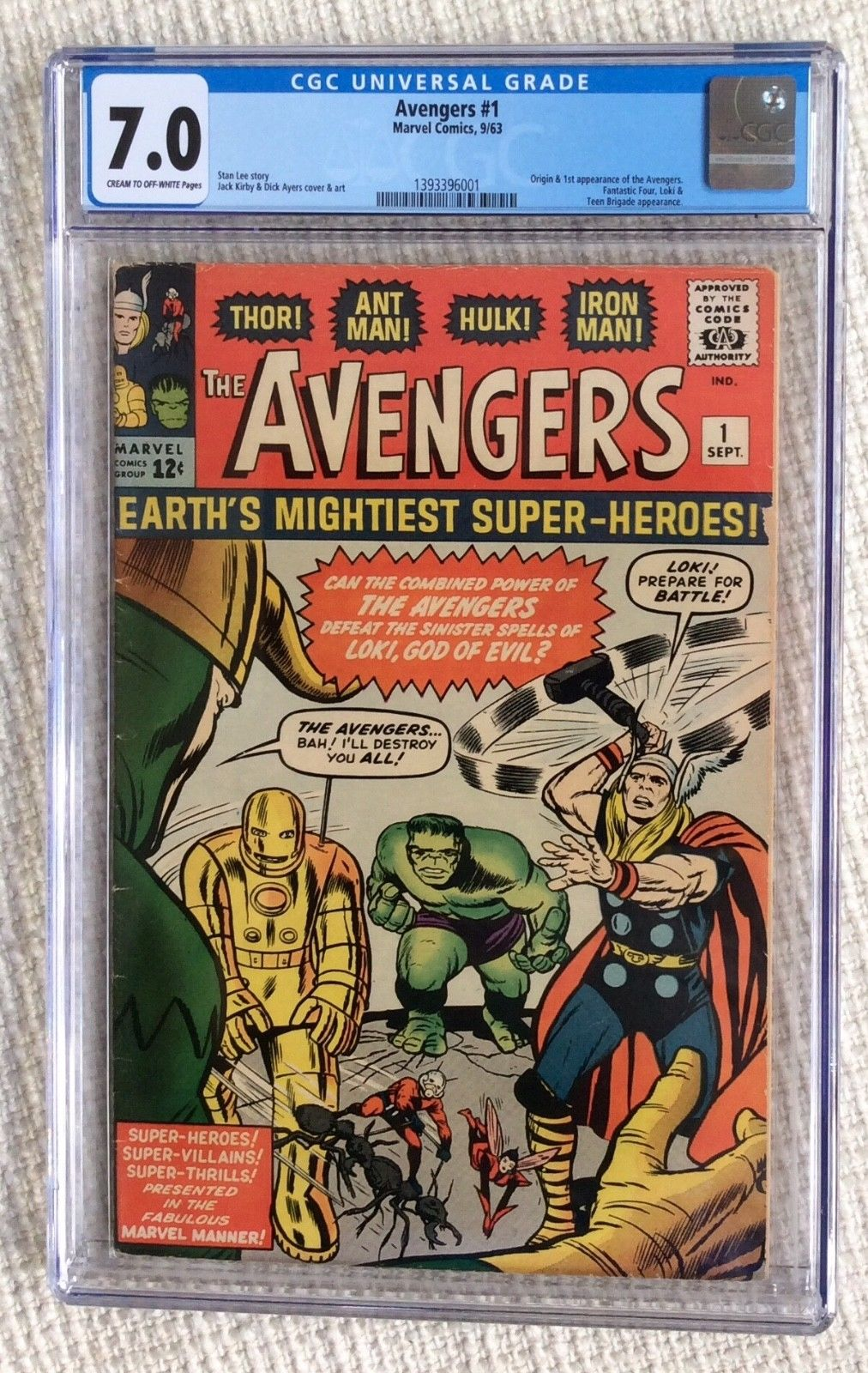Avengers 1 CGC 7.0 Stan Lee 1963 Origin & 1st App. Fantastic Four 4 App Thor