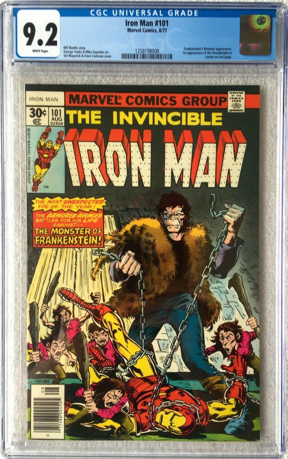 CGC 9.2 IRON MAN #101 .. 1ST APP DREADKNIGHT .. FRANKENSTEIN APP .. 1977 ..