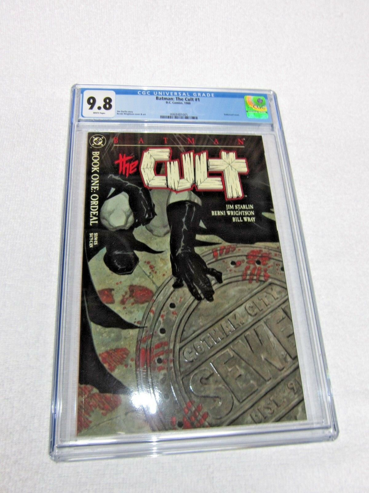 Batman The Cult 1 cgc 9.8 DC 1988 Embossed cover MINT WHITE pgs
