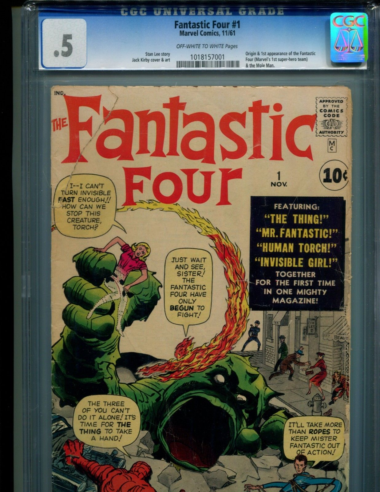 FANTASTIC FOUR 1 CGC .5 O/W T W PGS LOOKS 4.5-5.0 MARVEL'S 1ST SUPER HERO TEAM