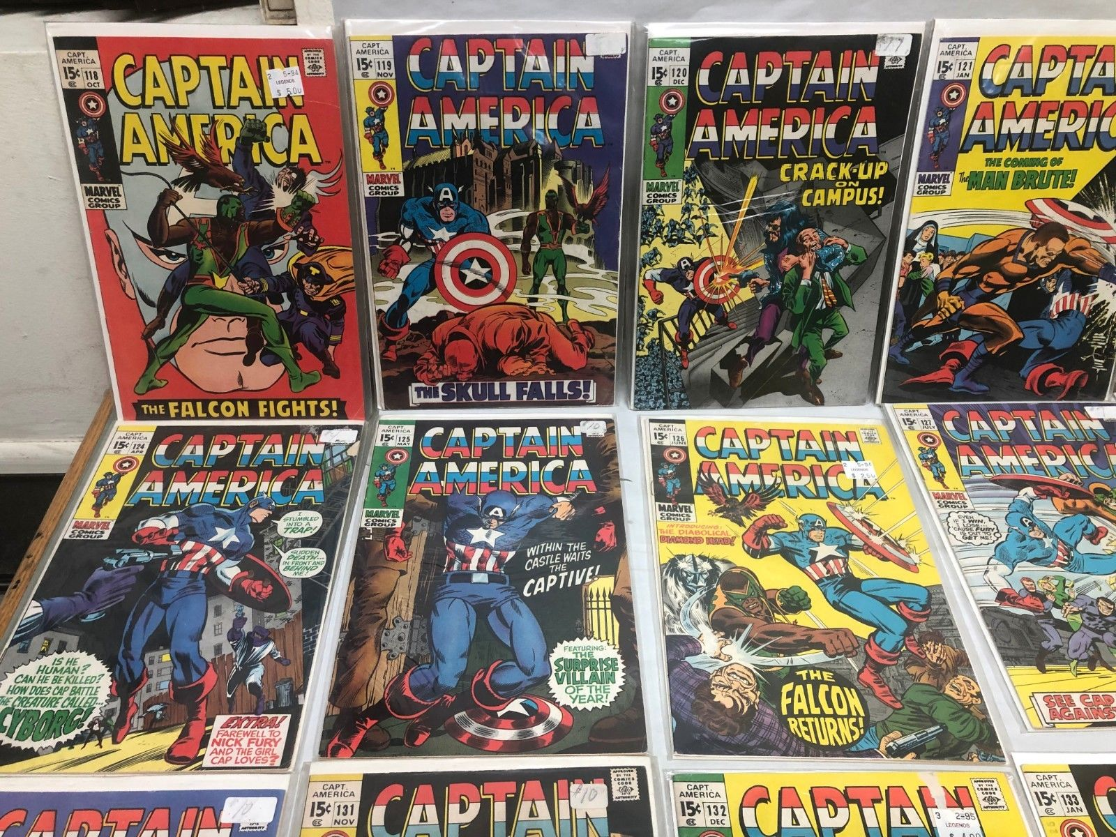 MARVEL COMICS SILVER/BRONZE CAPTAIN AMERICA RUN 118-141 MID GRADE COMIC BOOK LOT