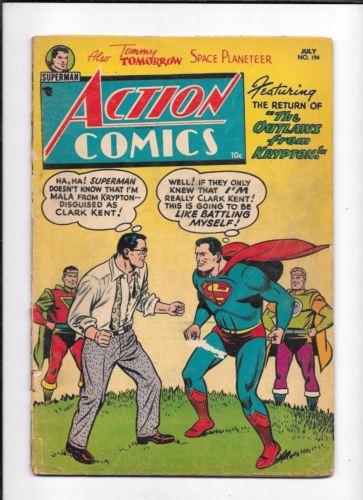 ACTION COMICS #194 ==  GD/VG GOLDEN AGE SUPERMAN DC COMICS 1954