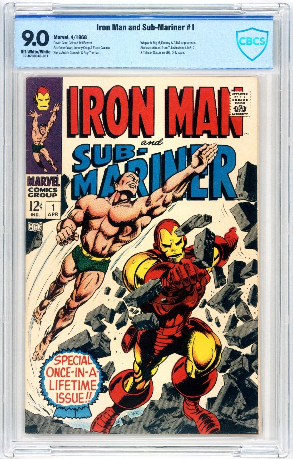 Iron Man and Sub-Mariner #1 CBCS 9.0 Cont. TTA 101 & TOS 99 1968