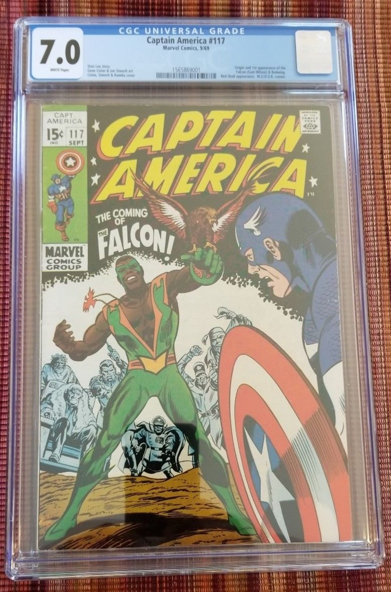 Captain America #117 CGC 7.0 White Pages w/Second & Third app of Falcon 118-119