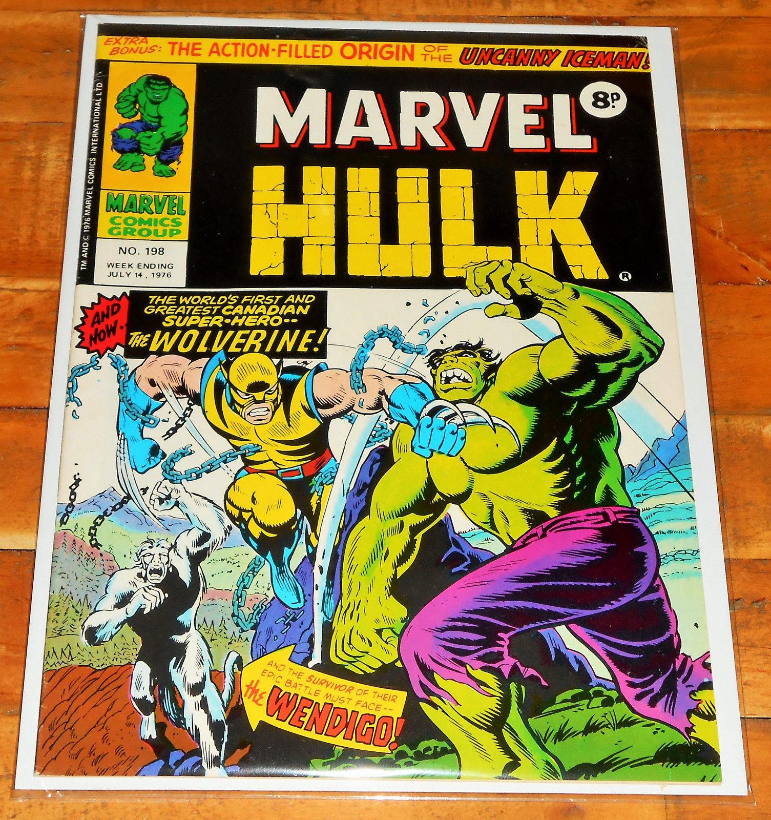 MIGHTY WORLD OF MARVEL no.198 1976 Incredible Hulk no.181 key 1st app WOLVERINE