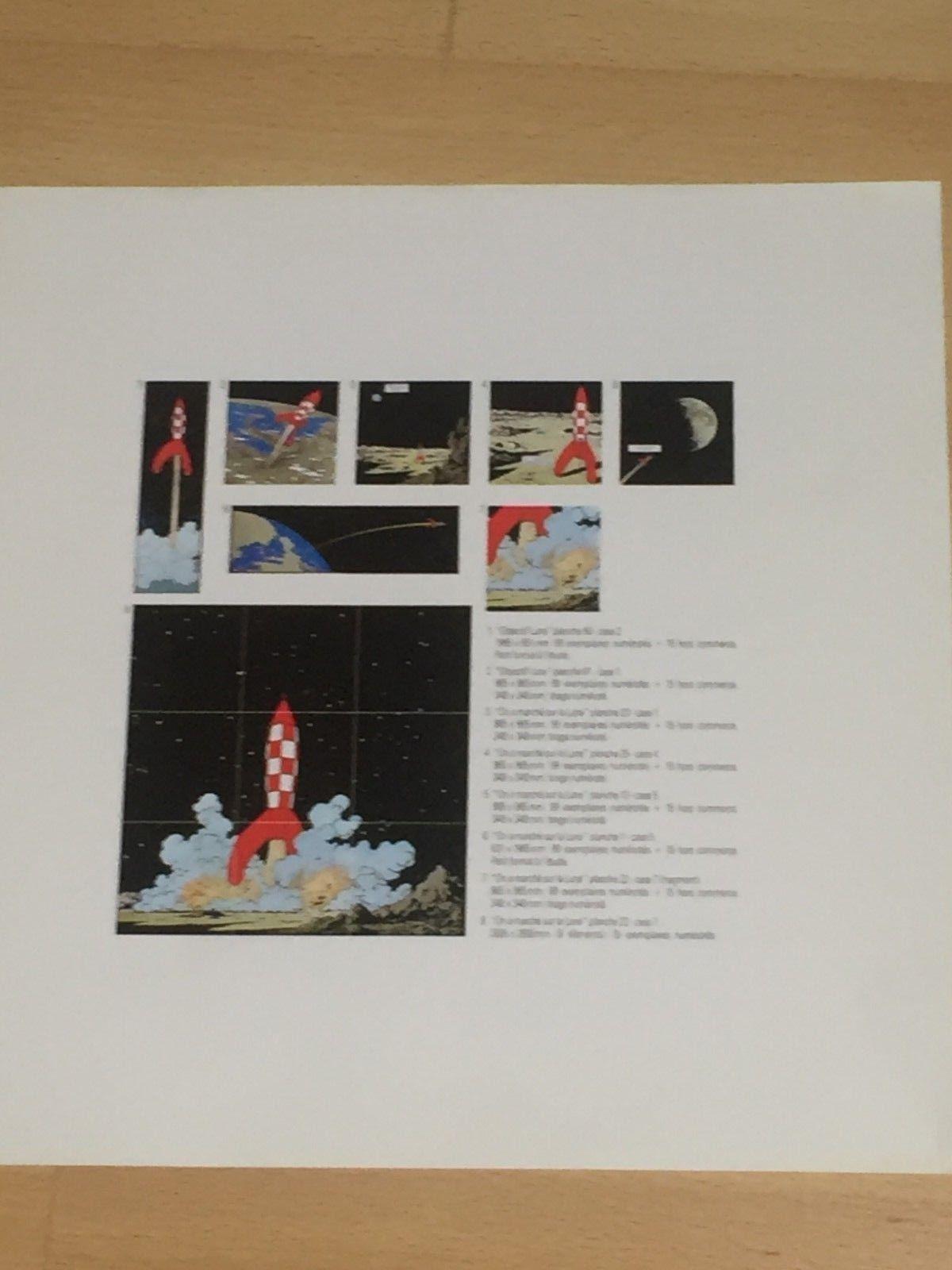 """Tintin dossier plaques émaillées """"Lune""""    8 +2 feuillets"""