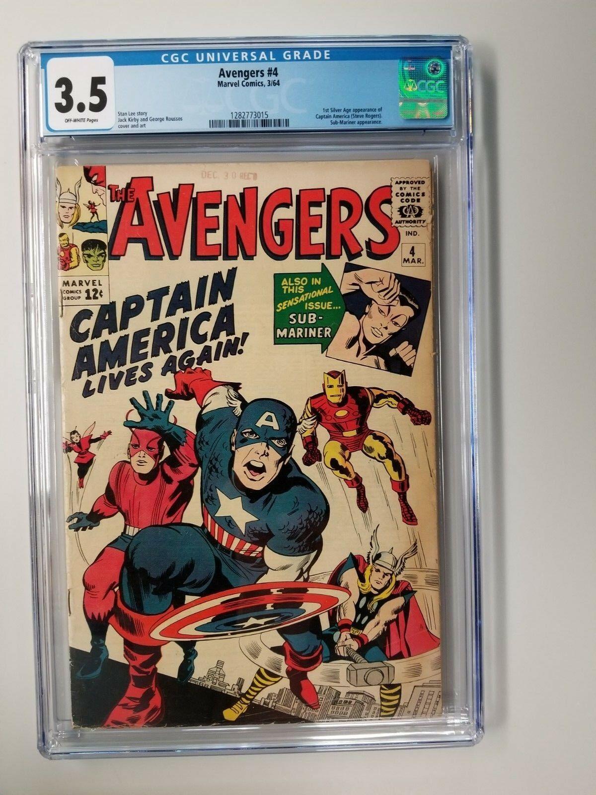 Avengers #4 CGC 3.5 VG- 1st Silver Age App Captain America 1964 - New Case