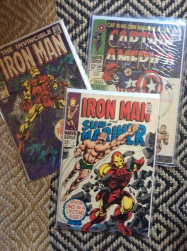 Estate lot 46 Comics IRON MAN #1, Captain America 100, Strange Tales, Stan Lee