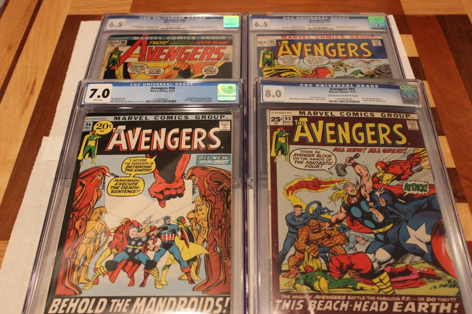 Avengers CGC Lot (4 Books) #93 (8.0), #94 (7.0), #95 (6.5), #96 (6.5) Neal Adams
