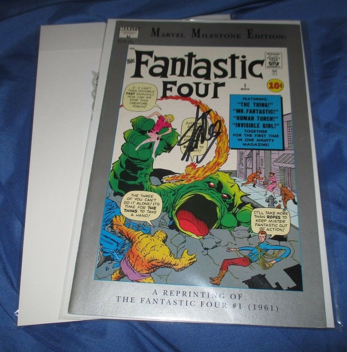 MARVEL MILESTONE EDITION Signed Comic by Stan Lee w/COA  Fantastic Four  #1