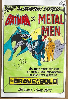 Original 1975 Batman Metal Men Brave Bold 120 DC comic color guide art splash pg
