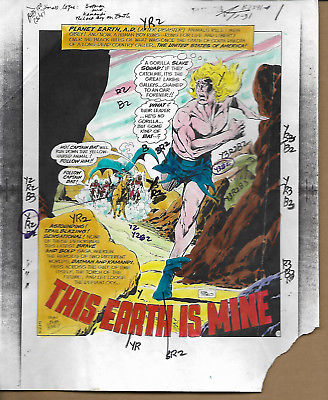 Original 1975 Batman Brave & The Bold 120 DC Comics color guide art pg 1:Kamandi