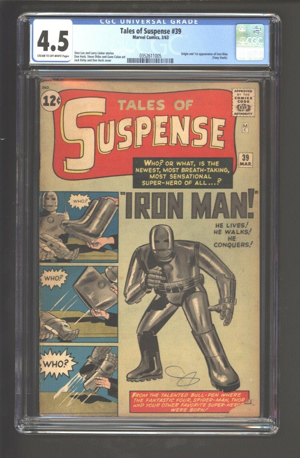 Tales of Suspense #39 CGC 4.5 C/OW Marvel Mar 1963 1st Iron Man Tony Stark HOT
