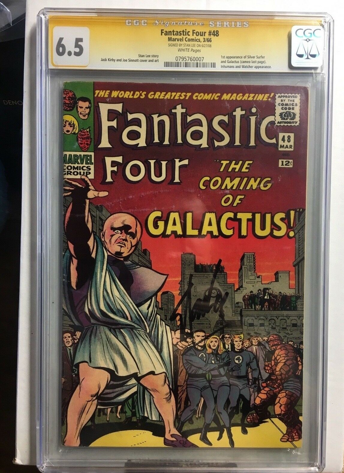 Fantastic Four 48 CGC 6.5 Signed Stan Lee First App. Silver Surfer