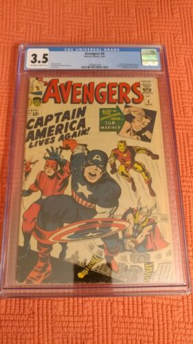 AVENGERS (1963) #4 CGC 3.5 with OW-W pages - 1ST SA app of CAPTAIN AMERICA