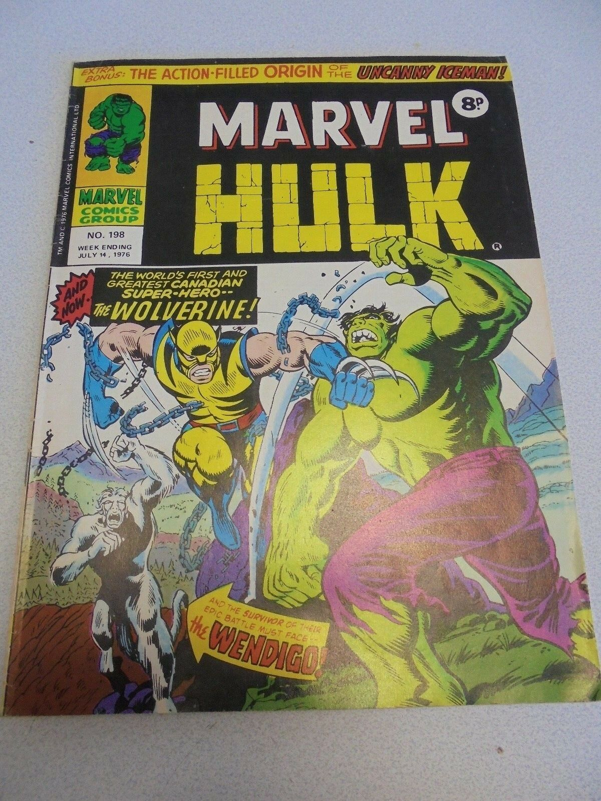 MIGHTY WORLD OF MARVEL no.198  July 1976 Incredible Hulk  1st app WOLVERINE
