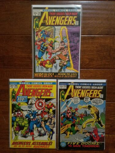 Avengers comic lot, Avengers 100, Avengers #99 #100 #101 run, bronze age, marvel