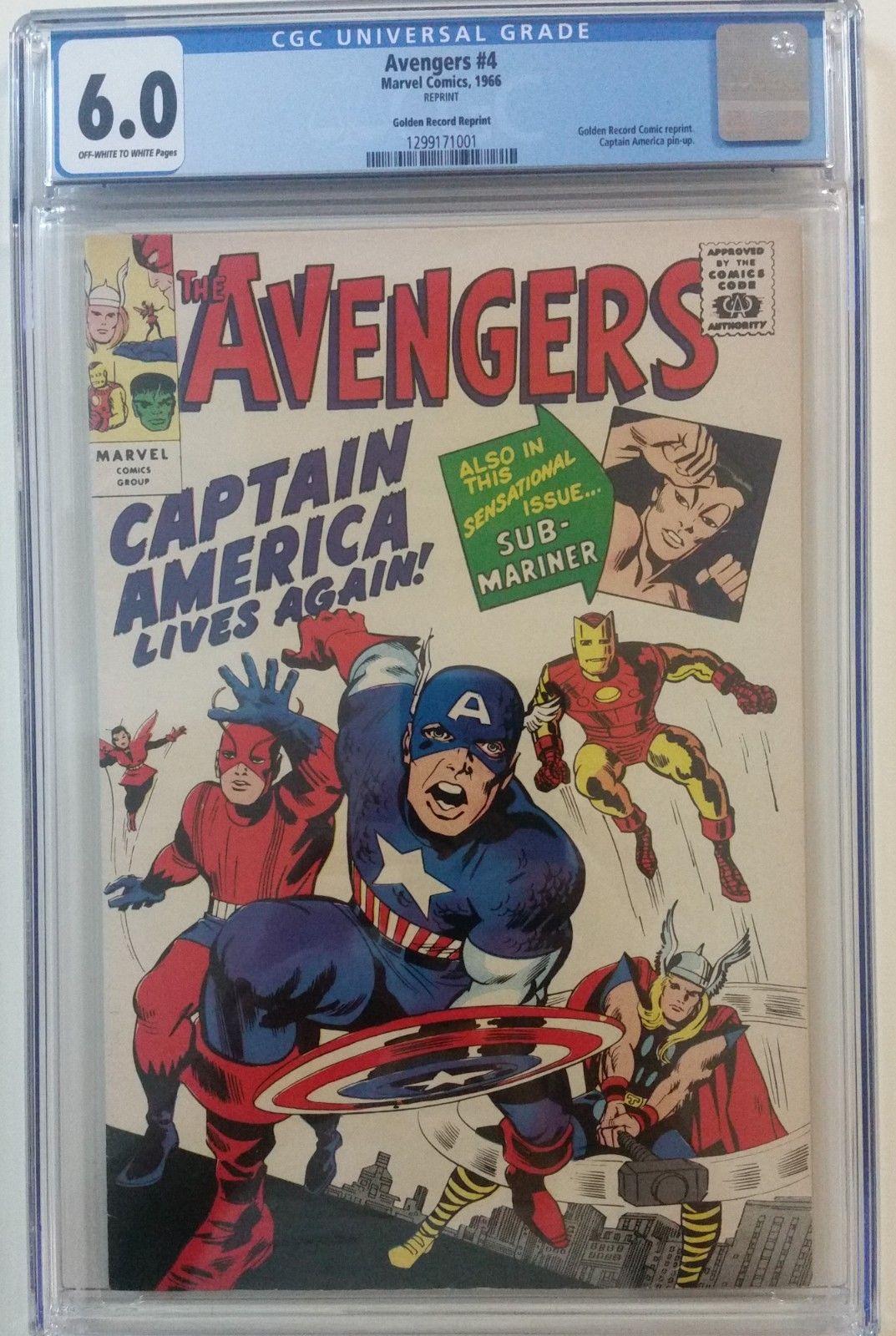 Avengers #4 CGC 6.0 (Golden R. Reprint) 1966. 1st silver age Captain America