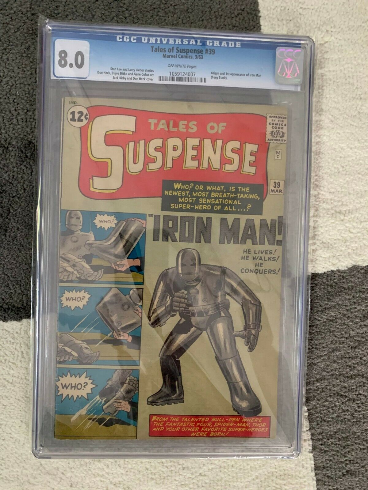 Tales of Suspense 39 CGC 8.0 OW Pages 1963. Origin and 1st app  Stan Lee Marvel