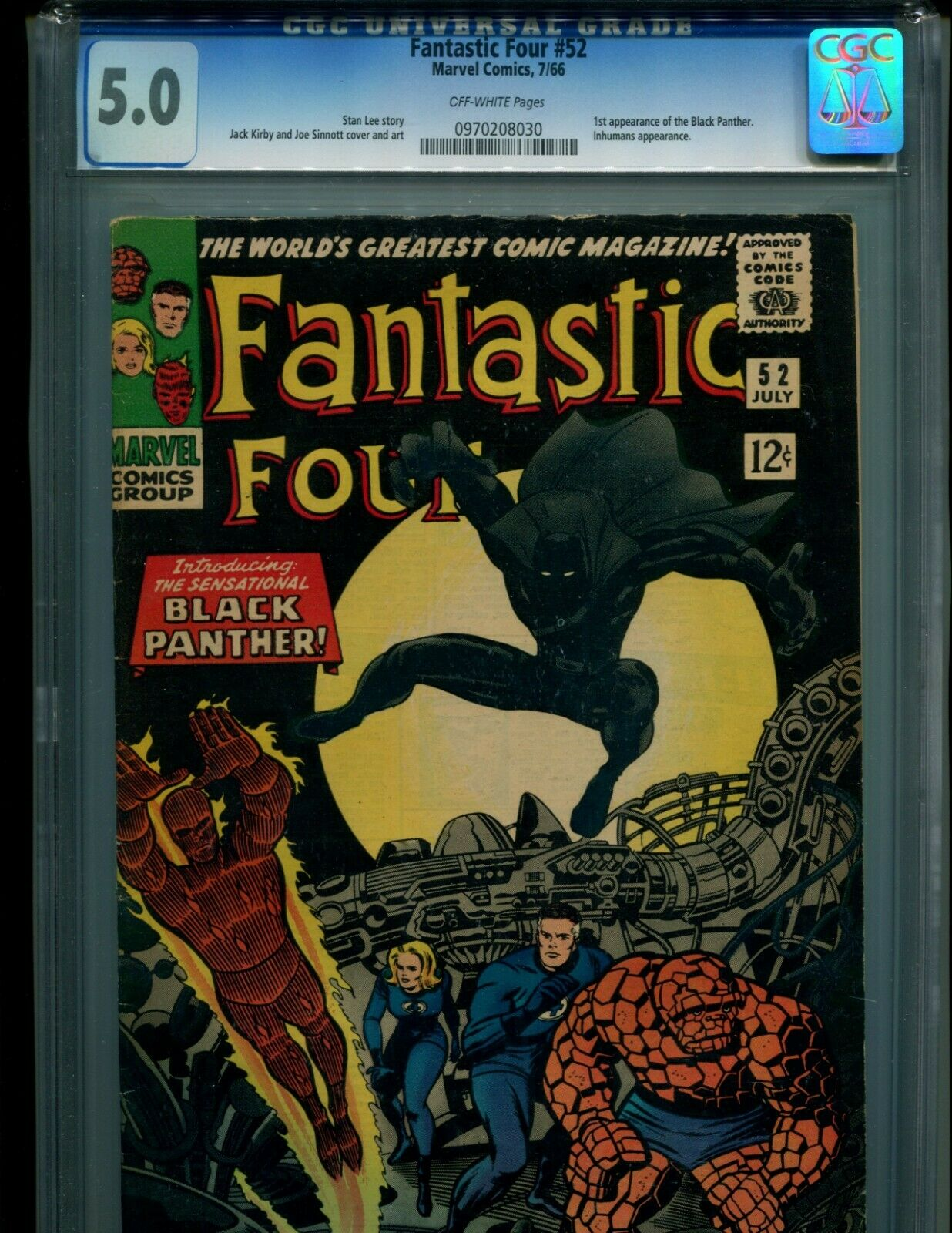 FANTASTIC FOUR 52 CGC 5.0 O/W PGS V. 1 1ST BLACK PANTHER NOT 4, 5, 48, 49