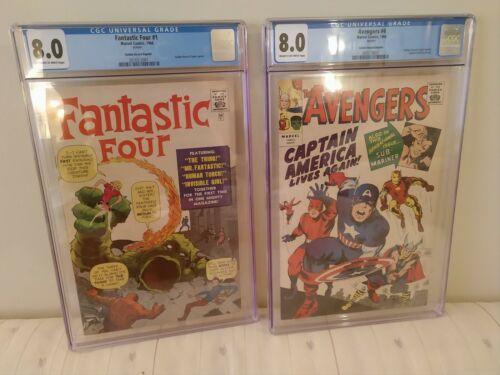 CGC 8.0 Fantastic Four 1 & Avengers 4 - Golden Record Reprints (1966). Stan Lee