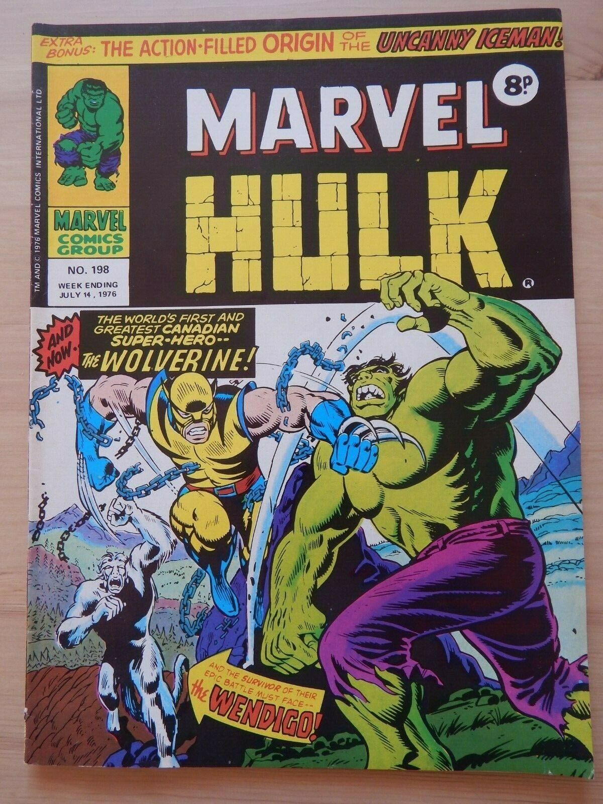 MIGHTY WORLD OF MARVEL - Rare no.198 1976 - Incredible Hulk -  1st app WOLVERINE
