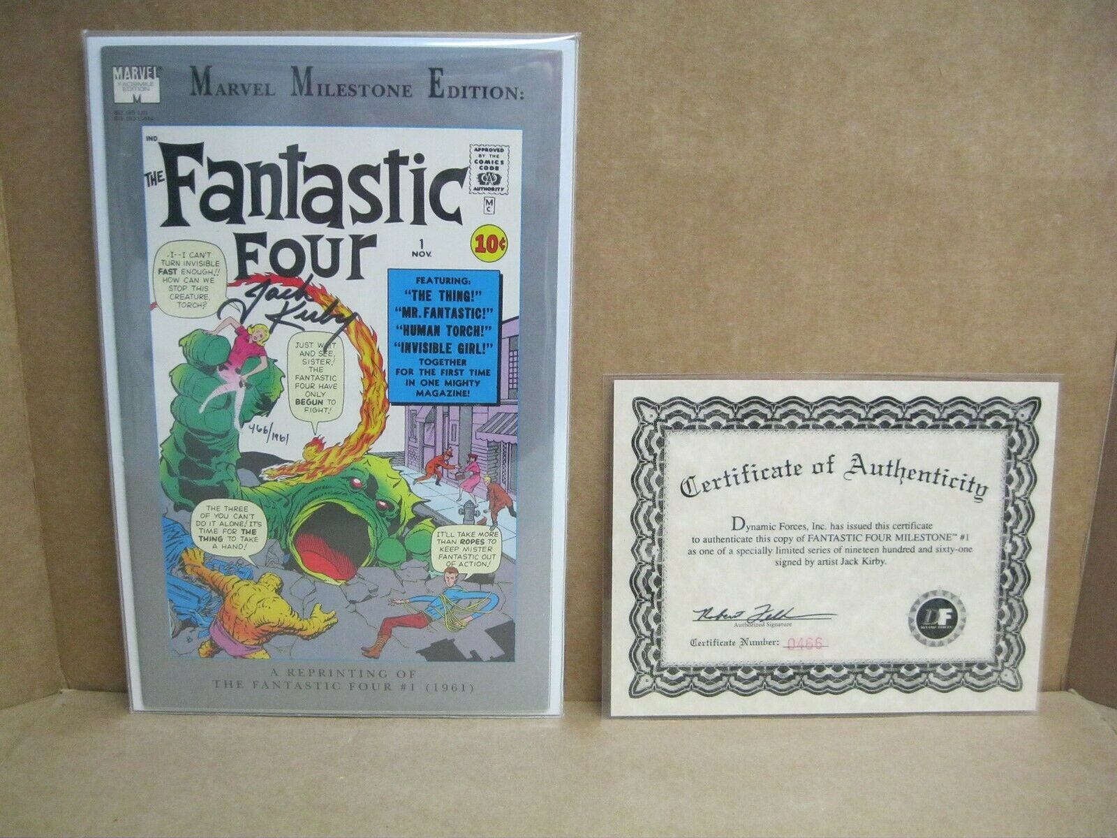 (FANTASTIC FOUR MILESTONE #1) SIGNED BY (JACK KIRBY) & COA FROM (DYNAMIC FORCES)