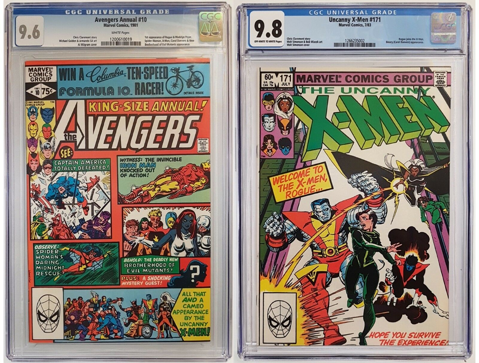 AVENGERS ANNUAL #10 CGC 9.6 & X-MEN #171 CGC #9.8 1st App ROGUE and Joins Team