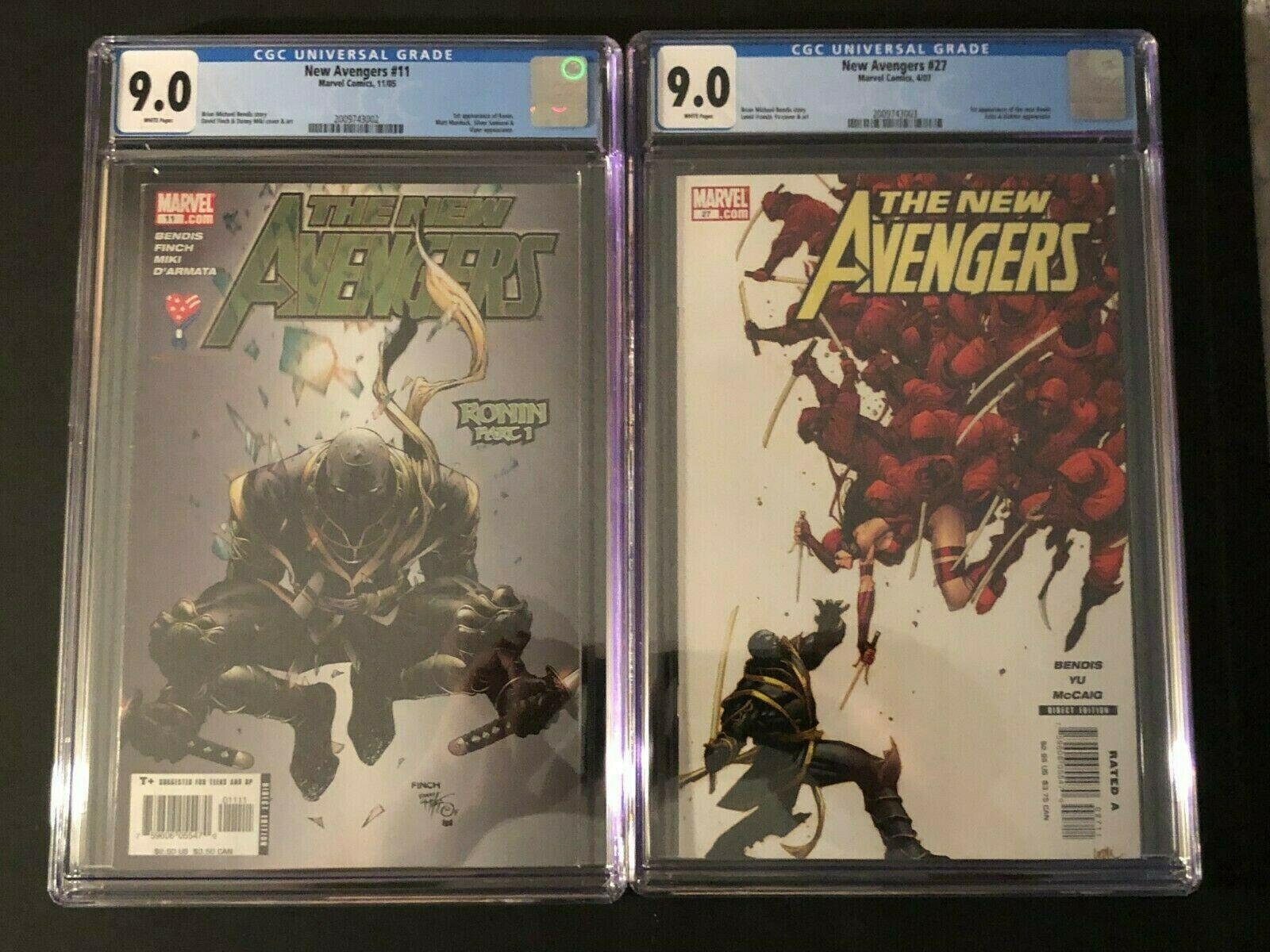 The New Avengers #11 and New Avengers #27 CGC 9.0 1st Ronin Avengers Endgame
