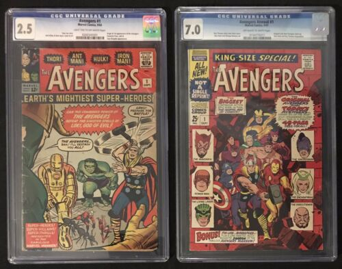 Avengers 1 CGC 2.5 + Annual 1 CGC 7.0 Origin & 1st Appearance Thor Hulk Lot of 2