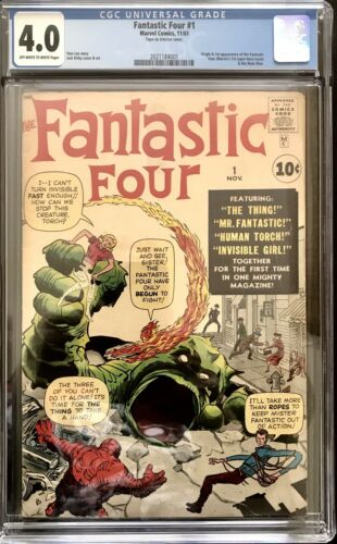1961 MARVEL FANTASTIC FOUR #1 1ST APPEARANCE & ORIGIN FANTASTIC 4 CGC 4.0 OW/WH
