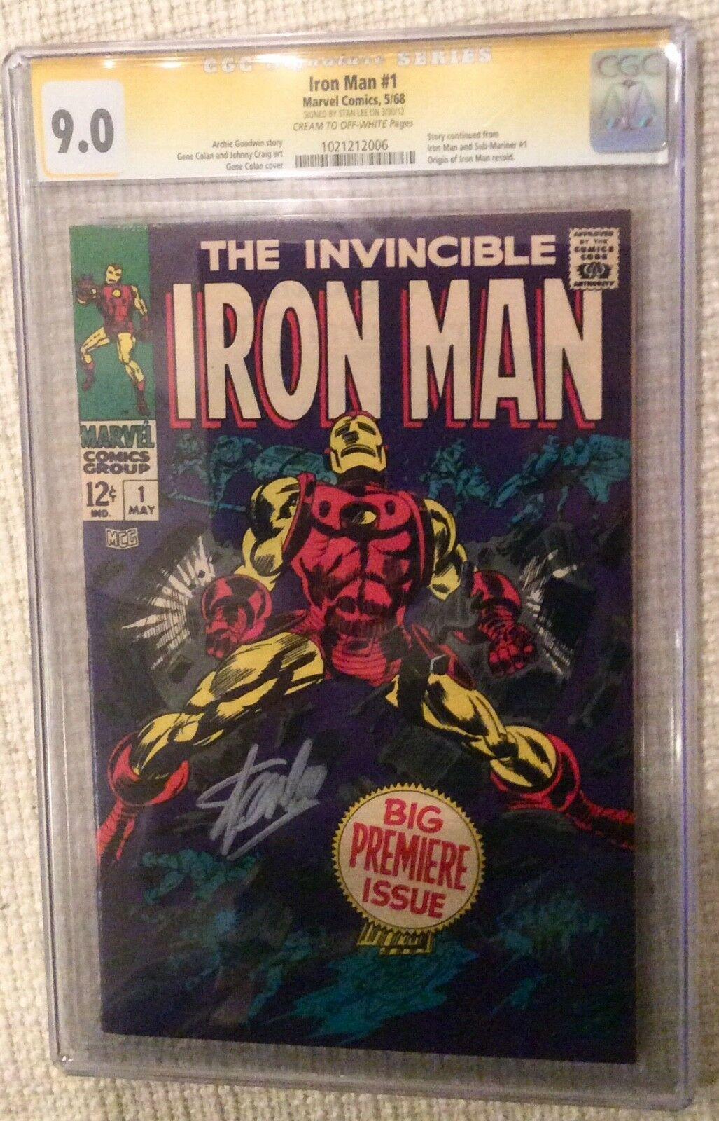 Iron man # 1 cgc 9.0 Stan Lee Sig, 55 Rare, Unpressed, Avengers ASM Tales 39