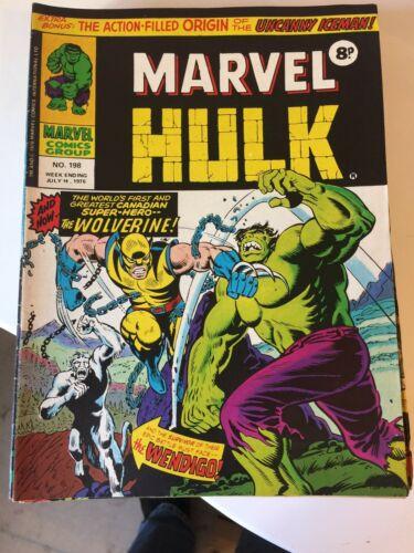 Mighty World Of Marvel 197/198/199 1st UK Wolverine 1976 Hulk Wendigo