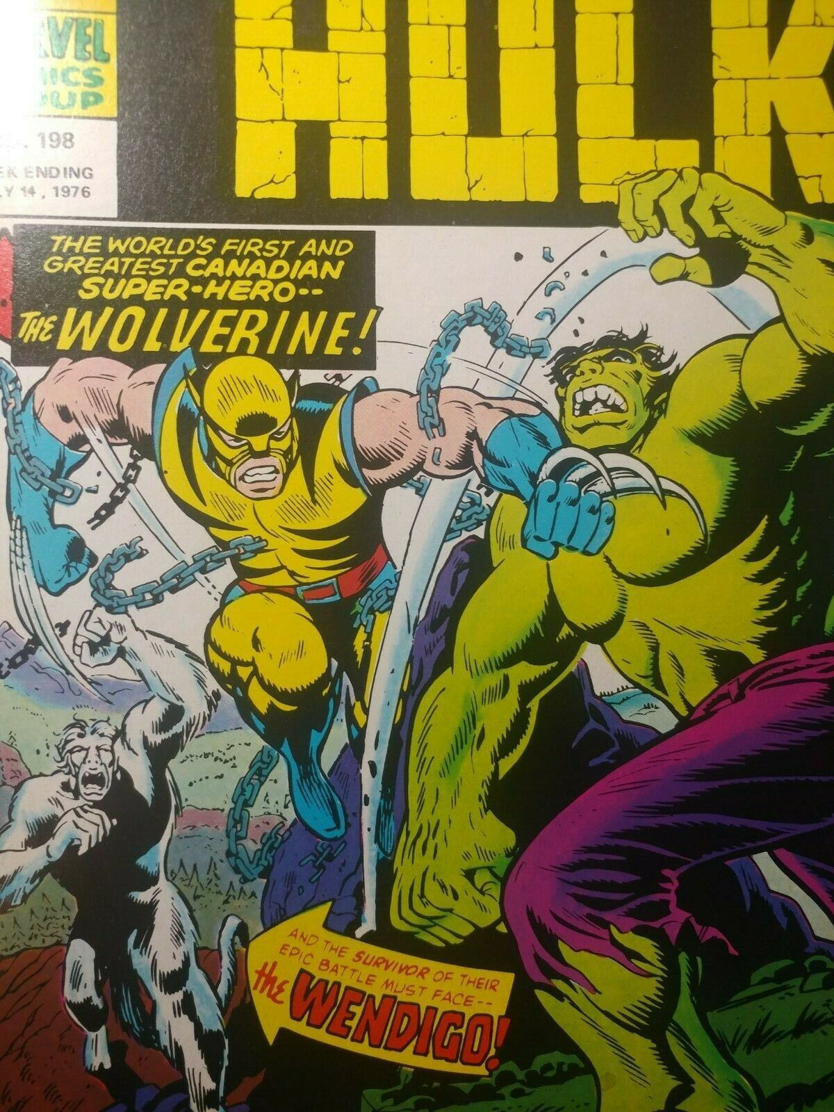 HULK 181 RARE UK MIGHTY WORLD MARVEL #198 VF+ 8.5  ????1972 1ST  WOLVERINE APP.