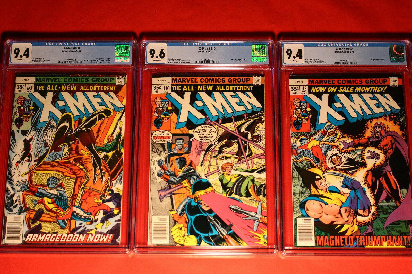 3 X-MEN ISSUE LOT #'s 108, 110, 112 CGC 9.4 NM / 9.6 NM+ UNCANNY MARVEL GROUP