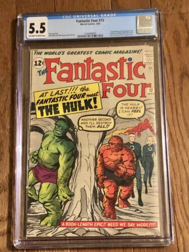 Fantastic Four #12 CGC 5.5 ow/w.  1st Meeting Of Fantastic Four & Hulk