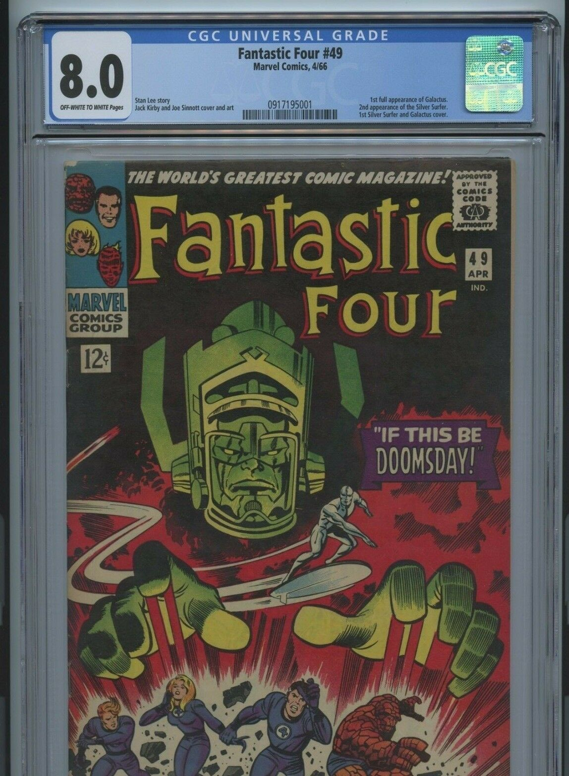 FANTASTIC FOUR #49 CGC 8.0 1st FULL APP GALACTUS, First Silver Surfer Cover