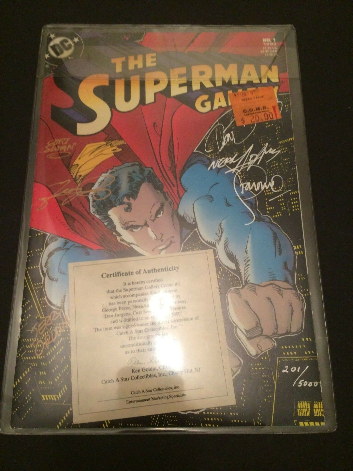 The Superman Gallery #1 (1993, DC) signed x6 Neal Adams George Perez Steranko +