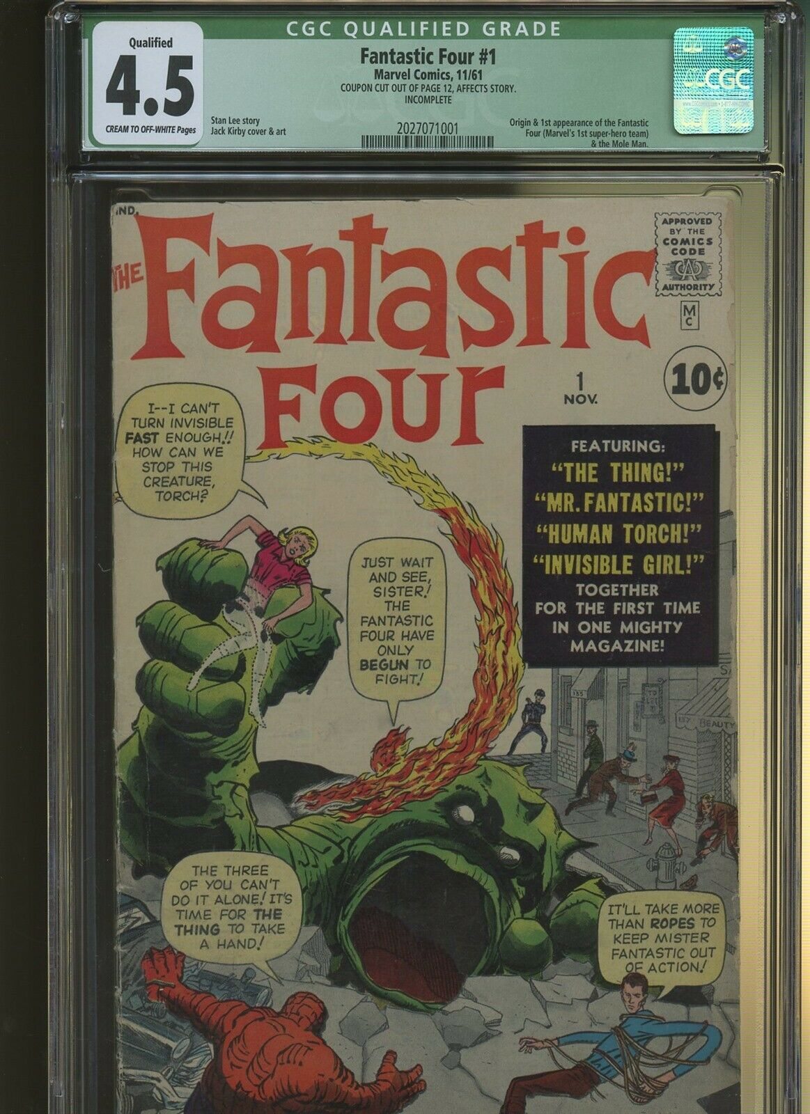 Fantastic Four 1 CGC Qualified 4.5 | Origin & 1st Fantastic Four & Mole-Man.