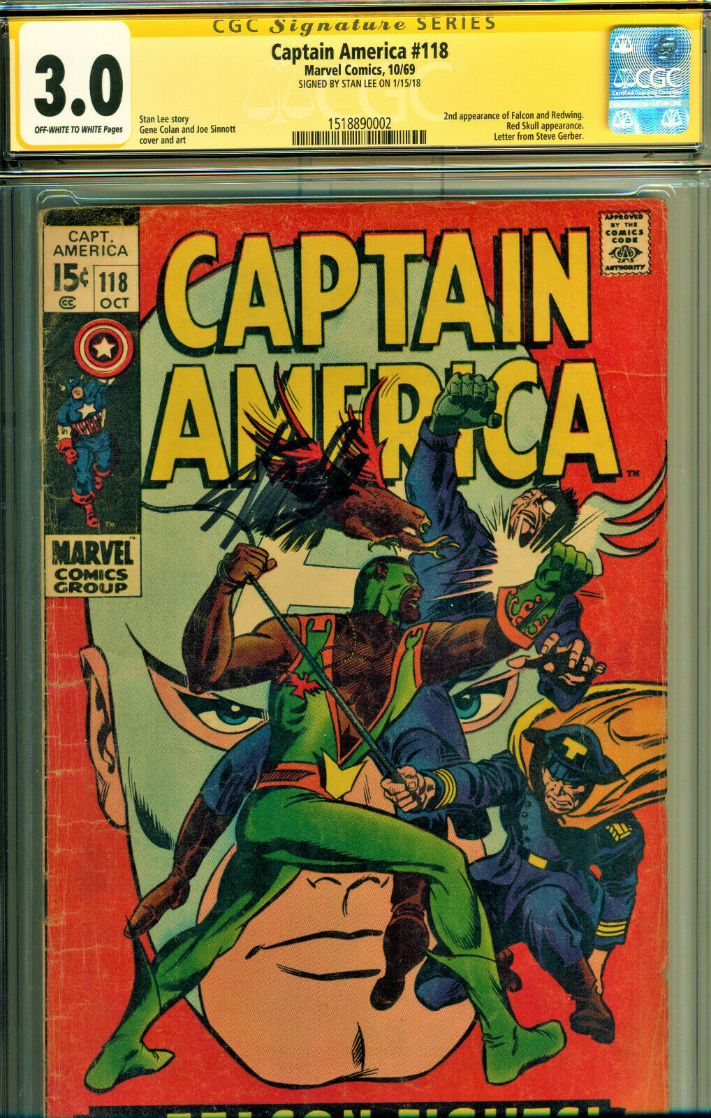 CAPTAIN AMERICA #118 CGC 3.0 SS SIGNED BY STAN LEE JACK KIRBY ART 2ND FALCON