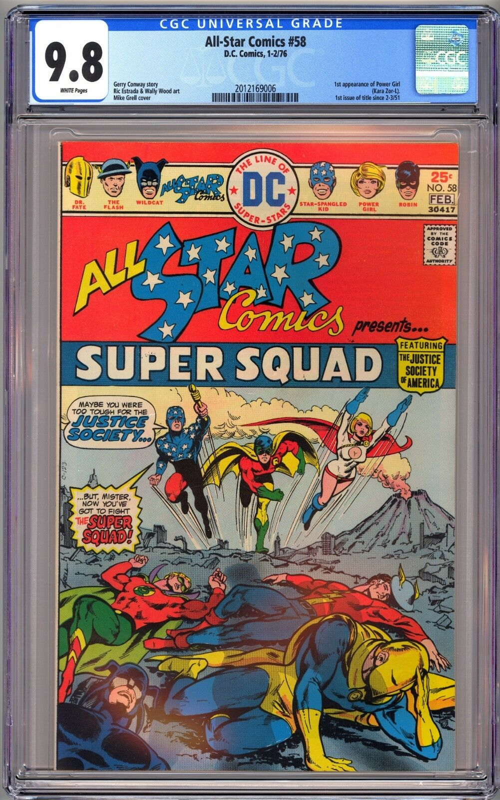 DC ALL STAR COMICS #58 - CGC 9.8 WHITE NM/MT 1st POWER GIRL